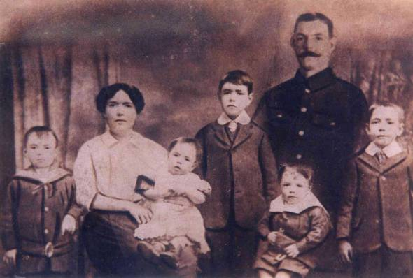 My great grandfather Sapper Peter Molyneaux (second right) with his sons George, aged five and Robert, 18 months, his wife, Jim, aged 10, Peter (my grandpa) aged three and Harry, aged seven.