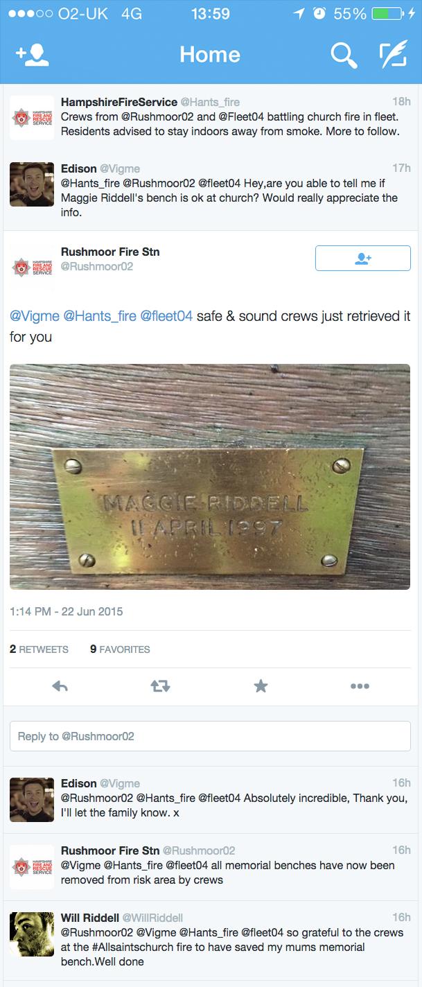 Twitter 23 June 2015 - Fleet church fire