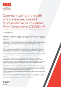 Guide on Communicating death of a colleague